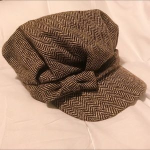 Accessories - Women's Wool Brown Hat w/ chevron print and a bow